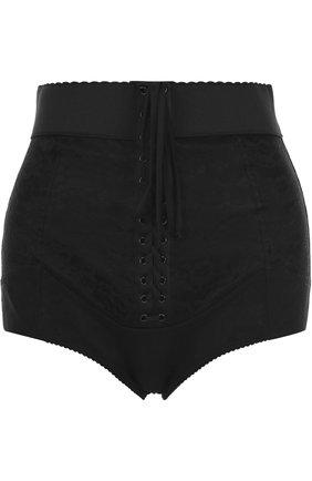 Трусы с завышенной талией и декоративной отделкой Dolce & Gabbana черные | Фото №1