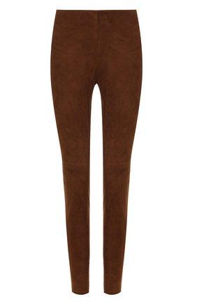 Замшевые брюки-скинни | Фото №1