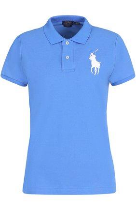 Женское хлопковое поло с вышитым логотипом бренда POLO RALPH LAUREN синего цвета, арт. 211505656 | Фото 1