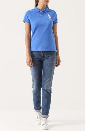 Женское хлопковое поло с вышитым логотипом бренда POLO RALPH LAUREN синего цвета, арт. 211505656 | Фото 2