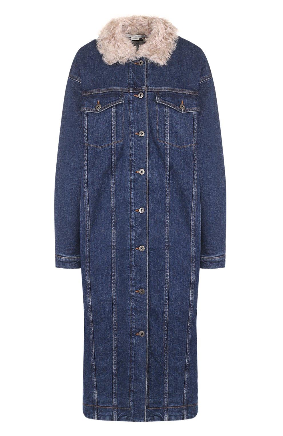 Женская синяя джинсовая куртка с меховой отделкой STELLA MCCARTNEY ... a9fb5d42522cc