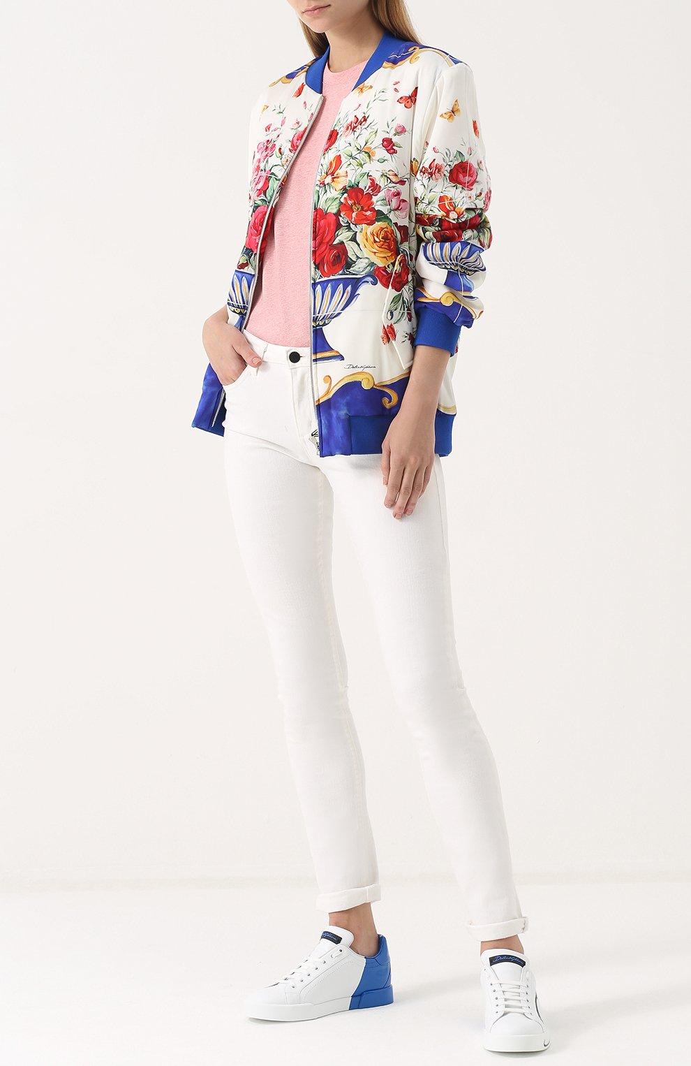Кожаные кеды Portofino Dolce & Gabbana синие | Фото №2