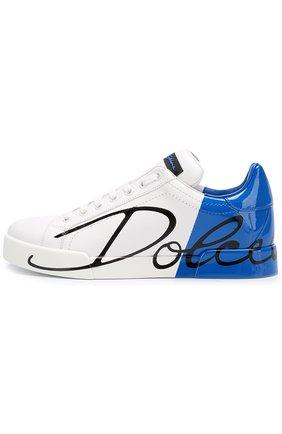 Кожаные кеды Portofino Dolce & Gabbana синие | Фото №3