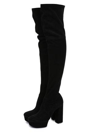 Замшевые ботфорты на устойчивом каблуке и платформе | Фото №1