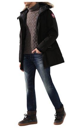 Мужская пуховая парка langford с меховой отделкой CANADA GOOSE черного цвета, арт. 2062M | Фото 2 (Рукава: Длинные; Материал внешний: Синтетический материал, Полиэстер; Материал подклада: Синтетический материал; Статус проверки: Проверено, Проверена категория; Мужское Кросс-КТ: Пуховик-верхняя одежда, Верхняя одежда, пуховик-короткий; Кросс-КТ: Пуховик, Куртка; Длина (верхняя одежда): До середины бедра; Материал утеплителя: Пух и перо)