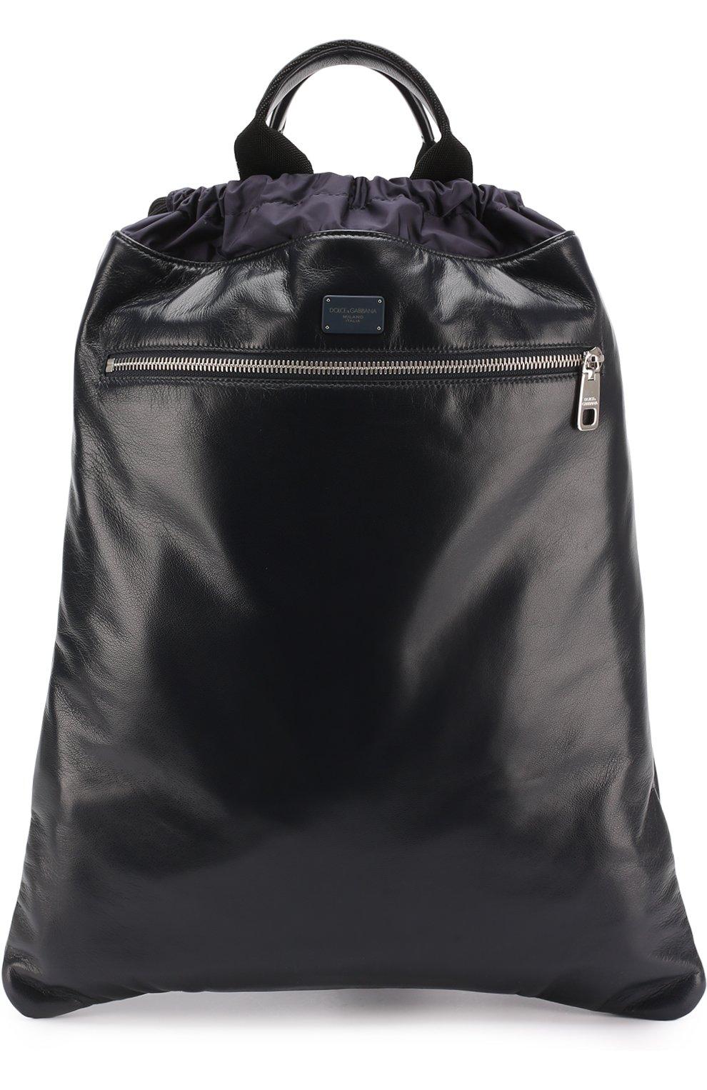 Кожаный рюкзак с внешним карманом на молнии   Фото №1