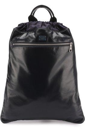 Кожаный рюкзак с внешним карманом на молнии Dolce & Gabbana темно-синий   Фото №1