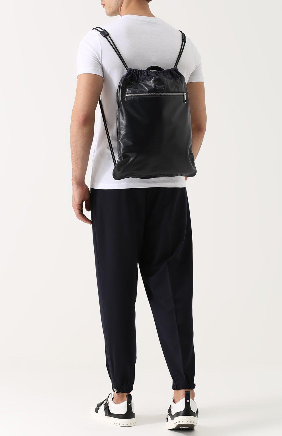 Кожаный рюкзак с внешним карманом на молнии Dolce & Gabbana темно-синий   Фото №2