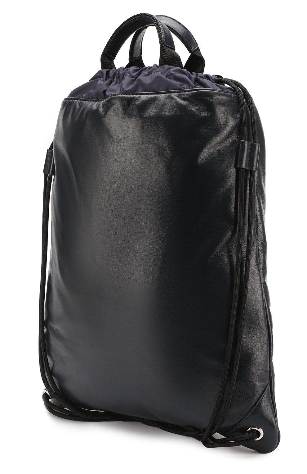 Кожаный рюкзак с внешним карманом на молнии Dolce & Gabbana темно-синий   Фото №3