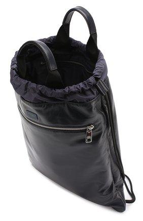 Кожаный рюкзак с внешним карманом на молнии Dolce & Gabbana темно-синий   Фото №4