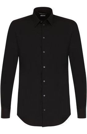 Хлопковая сорочка с воротником кент Dolce & Gabbana черная   Фото №1