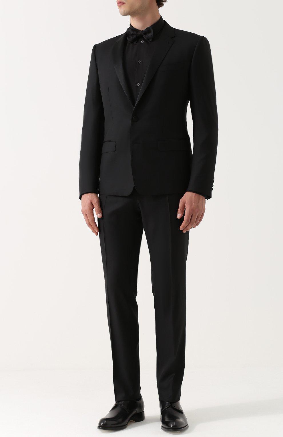 Хлопковая сорочка с воротником кент Dolce & Gabbana черная   Фото №2