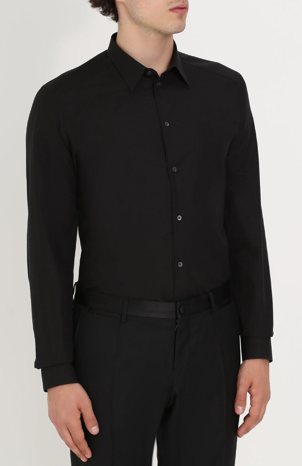 Хлопковая сорочка с воротником кент Dolce & Gabbana черная   Фото №3