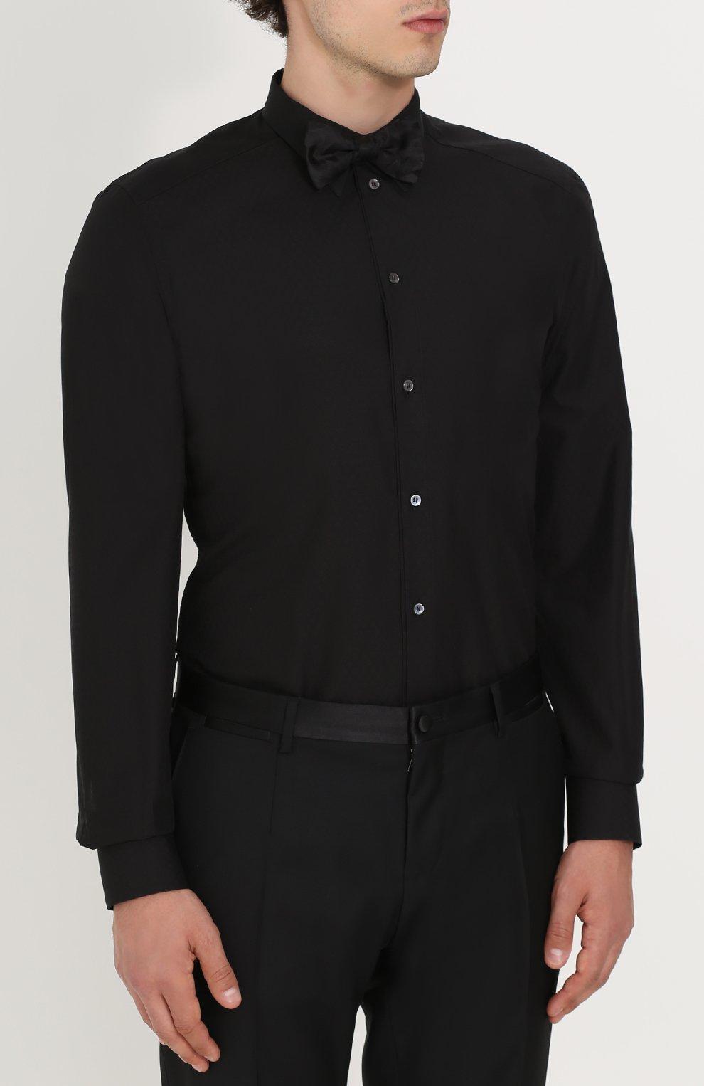 Хлопковая сорочка с воротником кент Dolce & Gabbana черная   Фото №4