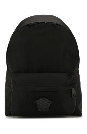 Мужской текстильный рюкзак с внешним карманом на молнии VERSACE черного цвета, арт. DFZ5350/DNYLV | Фото 1