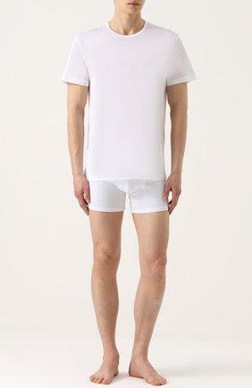 Мужские хлопковая футболка с круглым вырезом PEROFIL белого цвета, арт. 24300   Фото 2