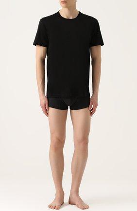 Мужские хлопковая футболка с круглым вырезом PEROFIL черного цвета, арт. 24300   Фото 2