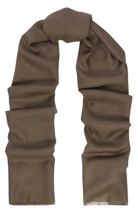 Мужской кашемировый шарф с необработанным краем RALPH LAUREN коричневого цвета, арт. 791654413 | Фото 1