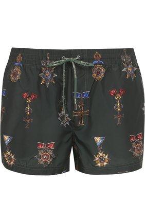 Плавки-шорты с принтом Dolce & Gabbana зеленые   Фото №1