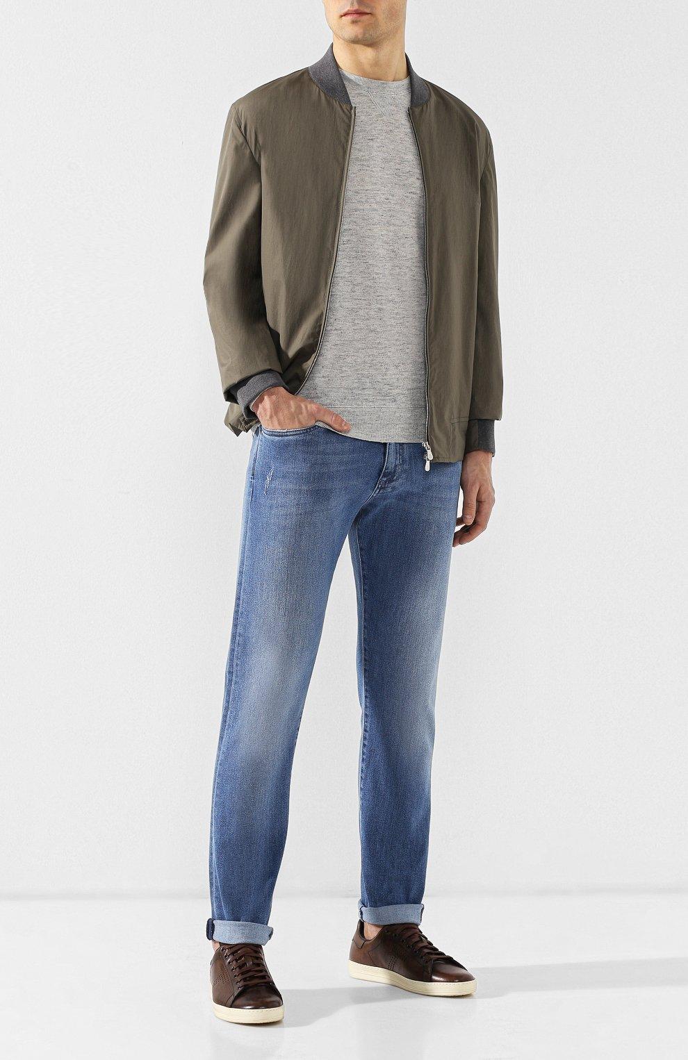 Мужские кожаные кеды  TOM FORD коричневого цвета, арт. J1045T-VCL | Фото 2