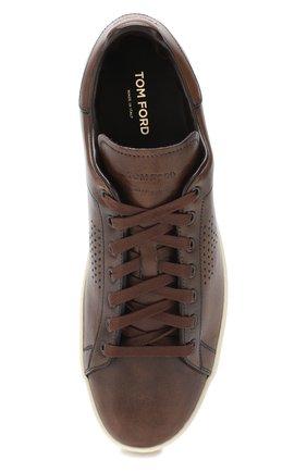 Мужские кожаные кеды  TOM FORD коричневого цвета, арт. J1045T-VCL | Фото 5