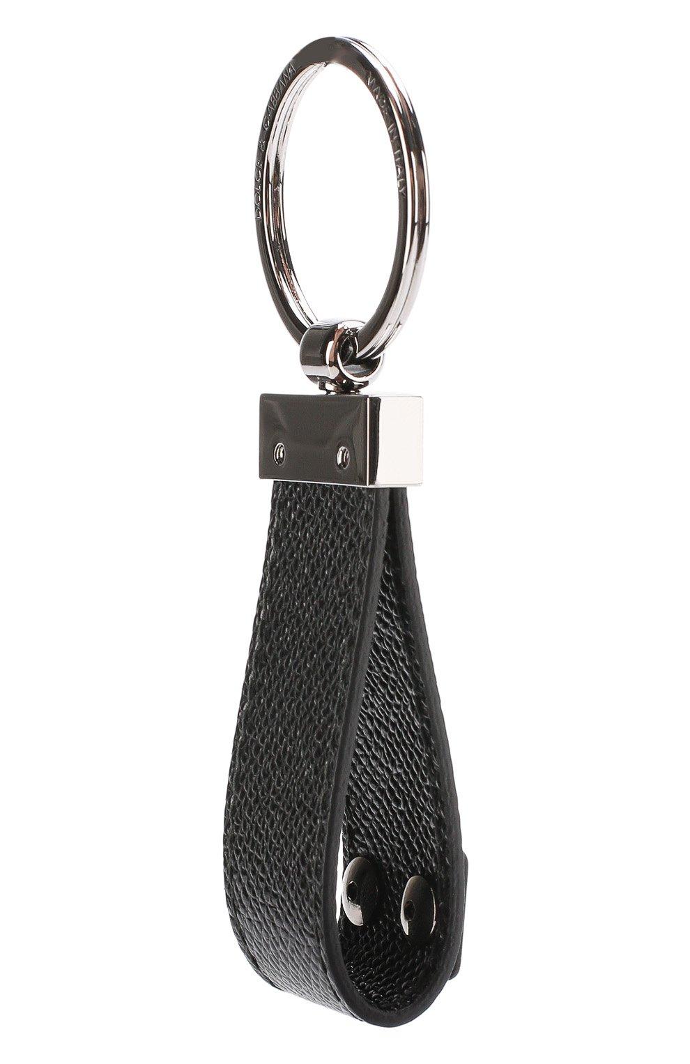 Кожаный брелок для ключей Dolce & Gabbana черный | Фото №2