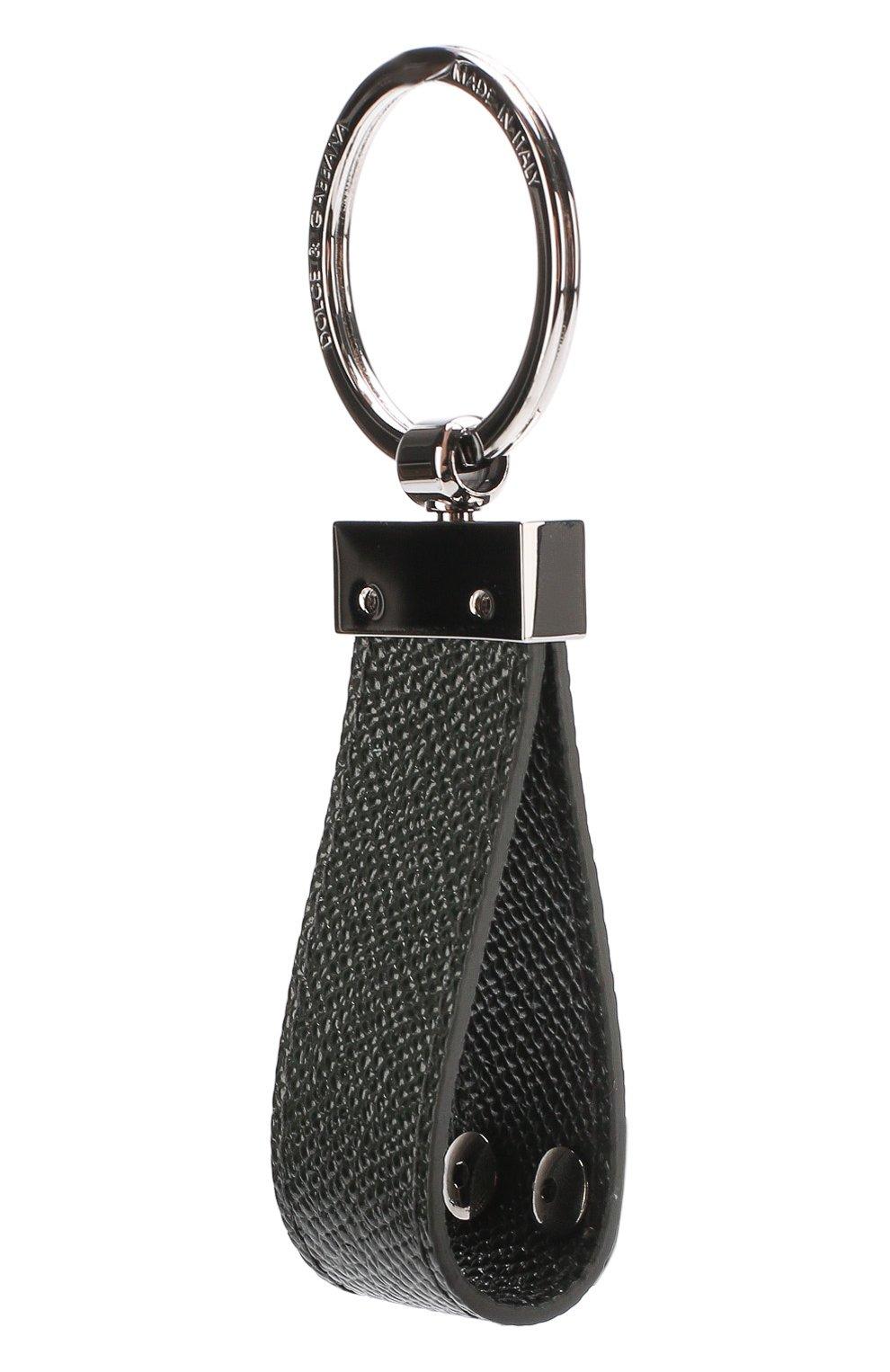 Кожаный брелок для ключей Dolce & Gabbana темно-зеленый   Фото №2