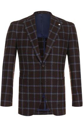 Однобортный пиджак в клетку из смеси шерсти и шелка