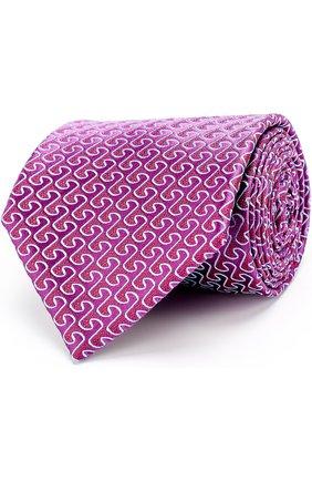 Шелковый галстук с узором Charvet синего цвета | Фото №1