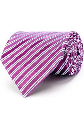 Шелковый галстук в полоску Charvet фиолетового цвета | Фото №1