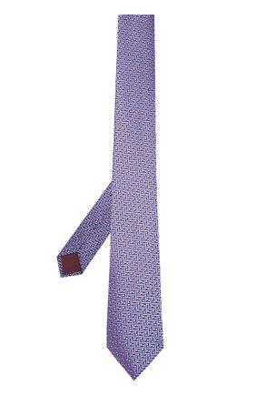 Шелковый галстук с узором Charvet темно-синего цвета | Фото №1