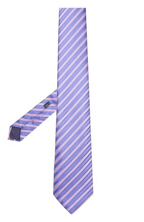 Шелковый галстук в полоску Charvet розового цвета | Фото №1