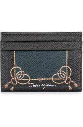 Кожаный футляр для кредитных карт с принтом Dolce & Gabbana черного цвета   Фото №1