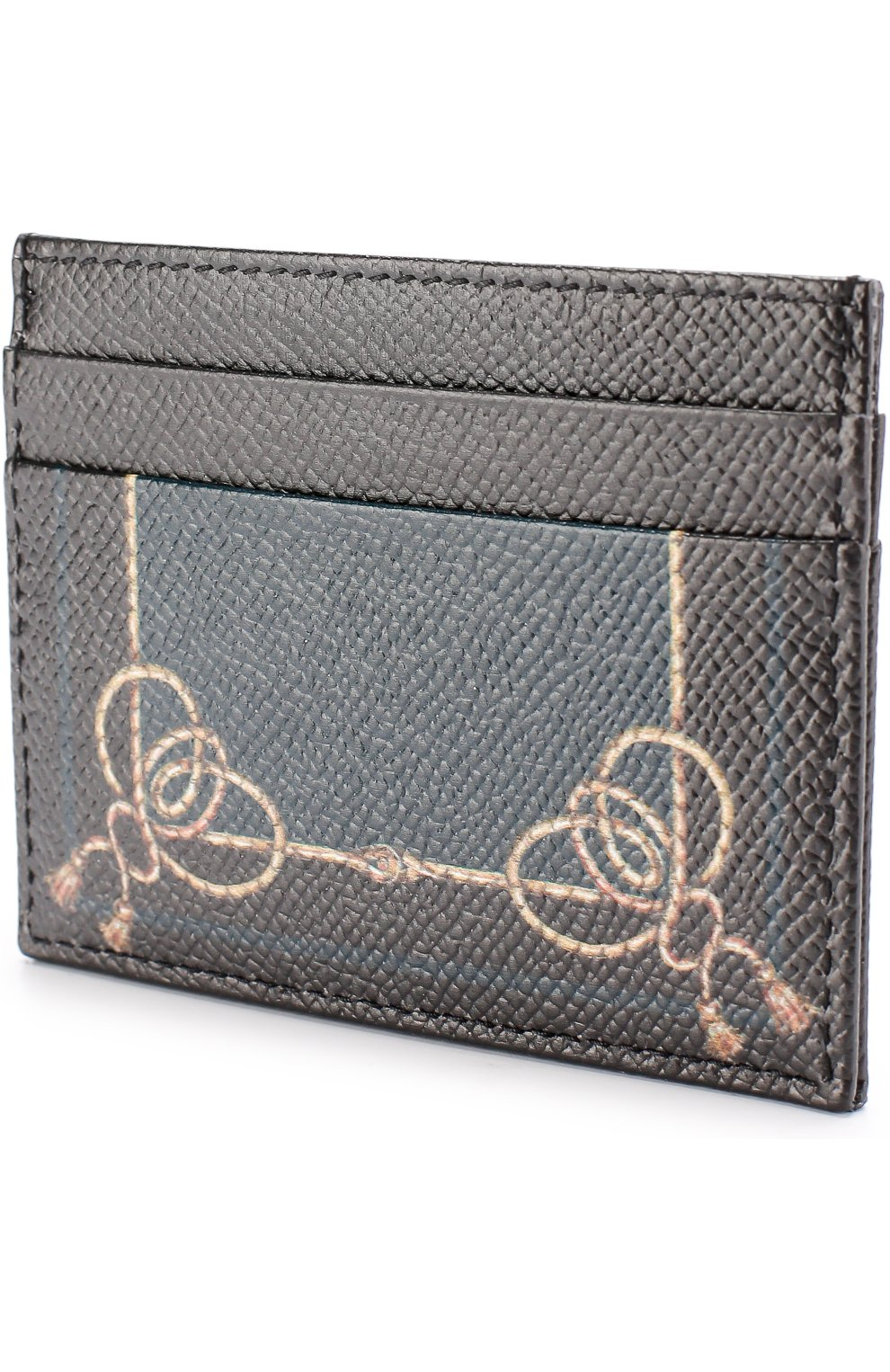 Кожаный футляр для кредитных карт с принтом Dolce & Gabbana черного цвета   Фото №2