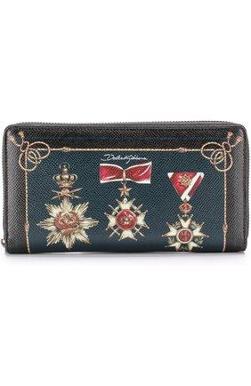 Кожаное портмоне на молнии с отделениями для кредитных карт и монет Dolce & Gabbana черного цвета   Фото №1