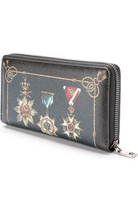 Кожаное портмоне на молнии с отделениями для кредитных карт и монет Dolce & Gabbana черного цвета   Фото №2