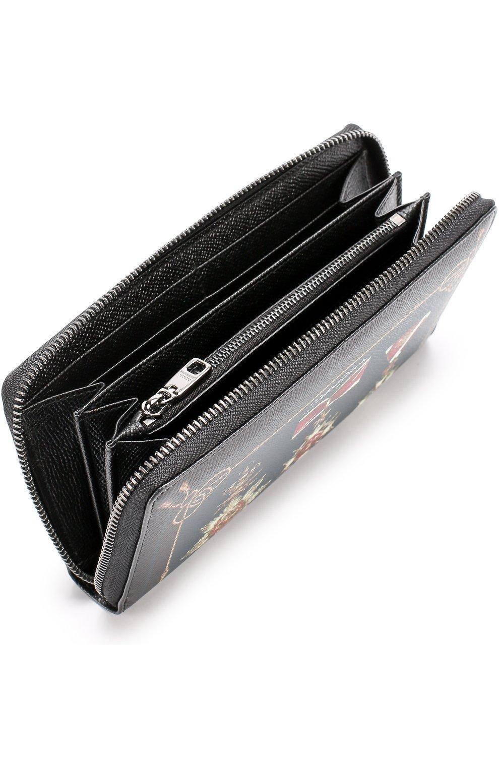 Кожаное портмоне на молнии с отделениями для кредитных карт и монет Dolce & Gabbana черного цвета   Фото №3