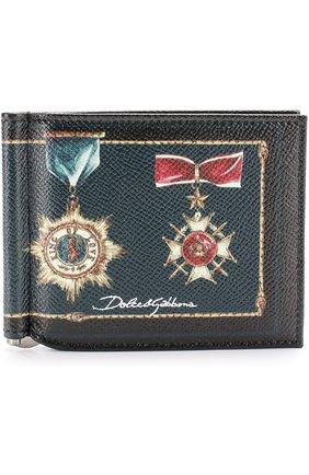 Кожаный зажим для денег с отделениями для кредитных карт Dolce & Gabbana черного цвета | Фото №1