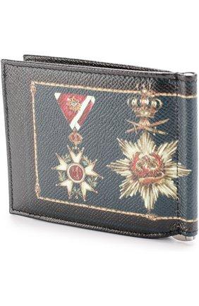 Кожаный зажим для денег с отделениями для кредитных карт Dolce & Gabbana черного цвета | Фото №2