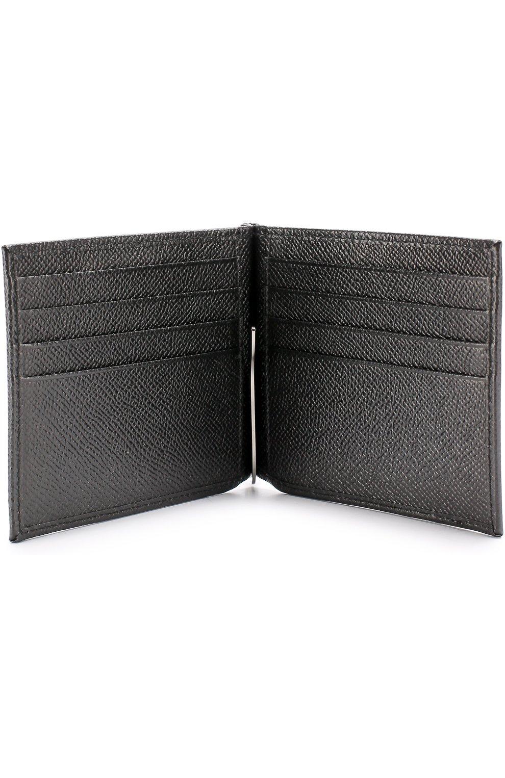 Кожаный зажим для денег с отделениями для кредитных карт Dolce & Gabbana черного цвета | Фото №3