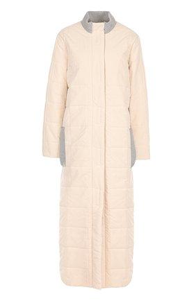 Стеганое пальто с контрастными вставками Walk of Shame розового цвета   Фото №1