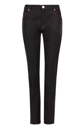 Женские джинсы прямого кроя с контрастной прострочкой VALENTINO темно-синего цвета, арт. NB3DD03L/2HN | Фото 1