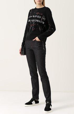 Женские джинсы прямого кроя с контрастной прострочкой VALENTINO темно-синего цвета, арт. NB3DD03L/2HN | Фото 2