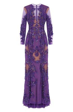 Платье-макси с вышивкой Zuhair Murad фиолетовое | Фото №1