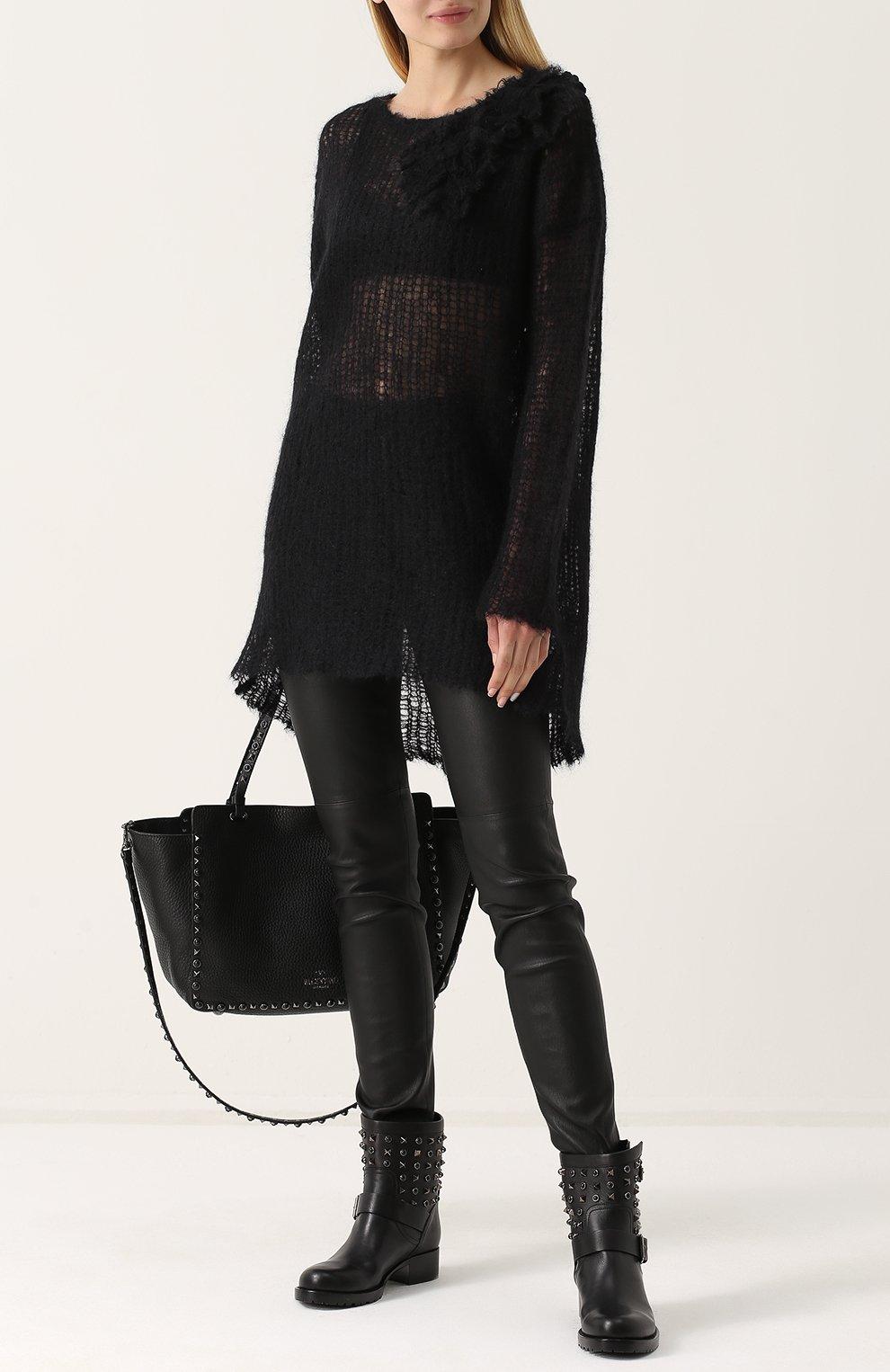5aa62ea8f9cb Женские черные кожаные байкеры valentino garavani rockstud rolling ...