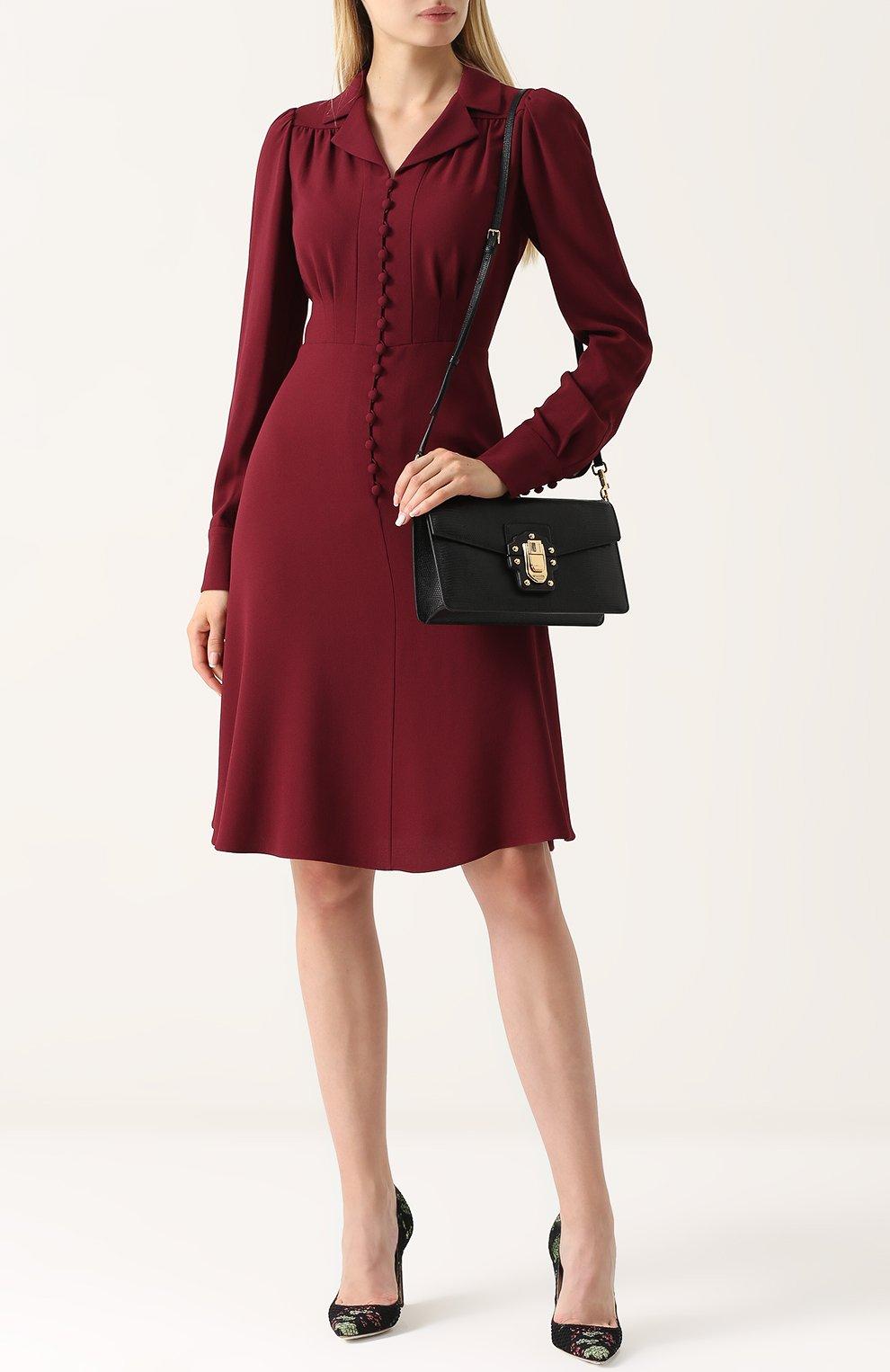 Сумка Lucia из тисненой кожи Dolce & Gabbana черная цвета | Фото №2