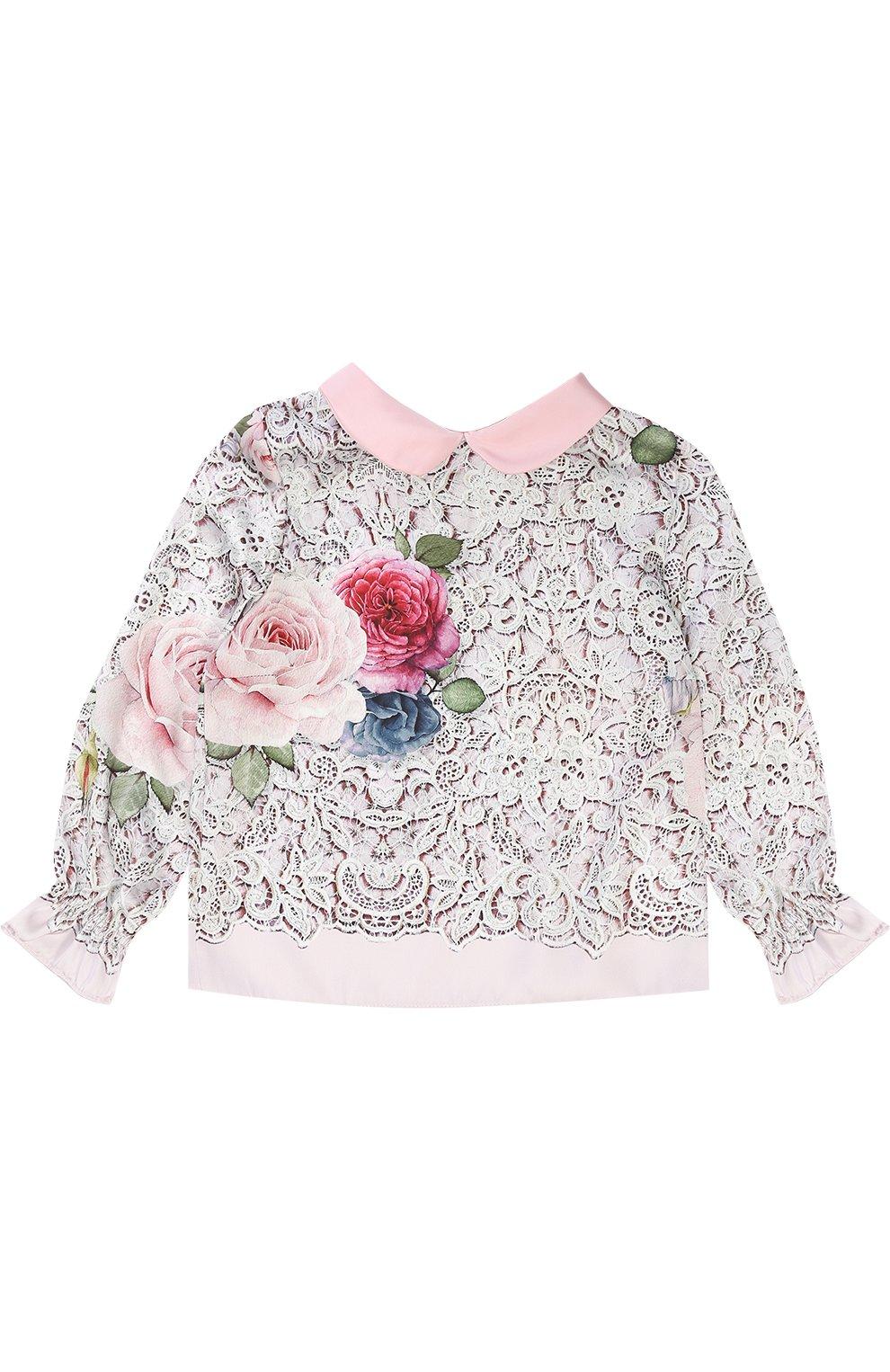 Детское блуза с принтом и декоративным воротником MONNALISA разноцветного цвета, арт. 710300 | Фото 1