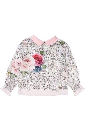 Блуза с принтом и декоративным воротником | Фото №1