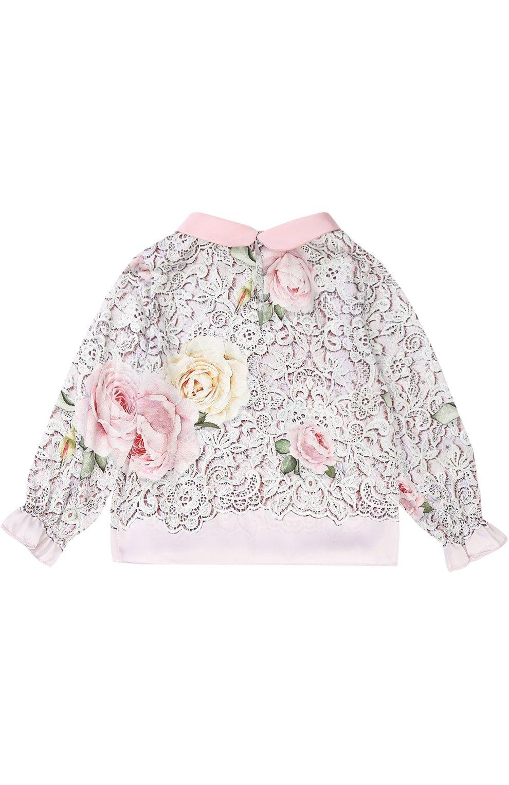 Детское блуза с принтом и декоративным воротником MONNALISA разноцветного цвета, арт. 710300 | Фото 2