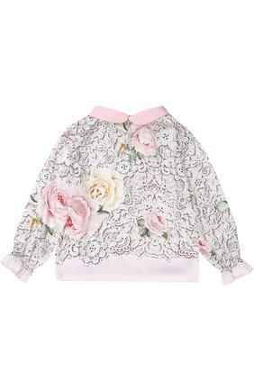 Блуза с принтом и декоративным воротником | Фото №2